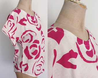1980's Pink Abstract Rose Print Cotton Top Vintage Shirt Size XS Small by Maeberry Vintage