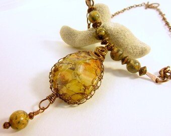 Wire Netted Jasper Bar Pendant, Wire Wrapped Jasper Bar Pendant, Leopard Jasper Beads Bar Necklace, Hammered Copper Bar Jasper Necklace