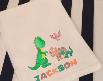 Personalized Dinosaurs T-Rex White Flour Sack Hand Towel Little Boys Girls Dinosaur Bathroom Hand Towel Birthday Party Favor