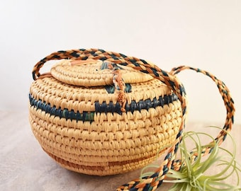 Wicker Hanging Coiled Basket/Woven Wicker Basket/Snake Charmer Style/Jungalow