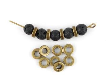 x 50 beads metal bronze 6mm rondelle (129 c)