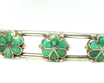 Sterling Silver Turquoise 3 Flower Inlay Wire Cuff Bangle 12mm Bracelet 5.5""