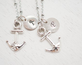 best friend necklace, nautical, anchor charm pendnat, hand stamped, bff, friendship necklace, navy wife, bridesmaid necklace, anchor charm