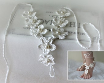 Barefoot Sandals , Beach Wedding Sandals , Crochet Pattern