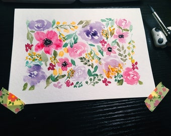 Watercolor Floral Hand Painted Thank You/ Congrats/ Notecard Greeting Card