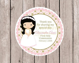 Girls First Holy Communion Favor Tags in Pink and Gold / Communion Stickers / Choose Hair & Skin Color / Set of 12 - HC12
