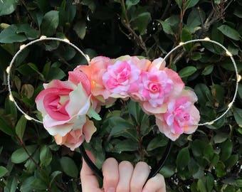Wire mouse ears, Aurora ears, wire ear headband, flower headband, tiara crown, minnie flower crown sleeping beauty ears, briar rose