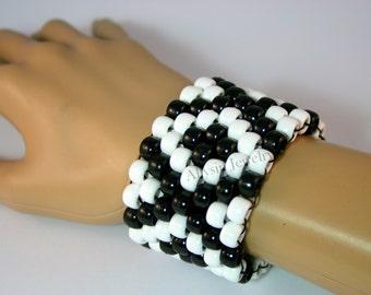 Black, White X Kandi Cuff, Kandy Bracelet, Raver Plur Diamond Pattern