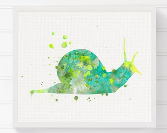 Watercolor Snail, Snail Art Print, Kids Room Decor, Nursery Wall Decor, Childrens Room Decor, Snail Painting, Baby Shower Gift, New Baby