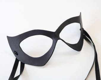 Catwoman Mask - Black Cat - Leather Costume mask - Fetish - ms Marvel - masquerade mask woman
