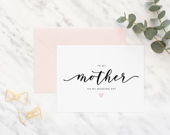 To my mother on my wedding day card, mom card, wedding day card, mother of the bride card, mother of the groom card, wedding, to my mother