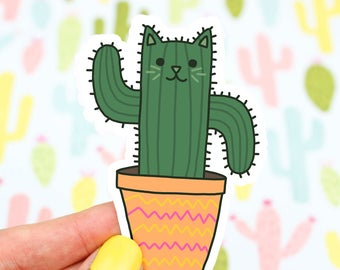Saguaro Cat Sticker, Cactus Decal, Cacti, Succulents, Kitty Sticker, Vinyl Decal, Tumbler Sticker, Laptop Decal, Planner Stickers, Green