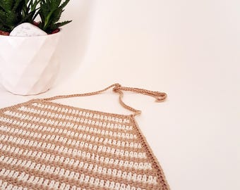 Crochet crop top pattern stripes bikini top halter top crochet top festival top white and brown