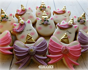 Unicorns and Unicorn bows!,  One dozen (12) Custom Decorated cookies