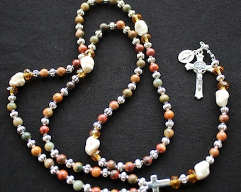 Beads of Wood, Silver Spacers and Our Father Stones