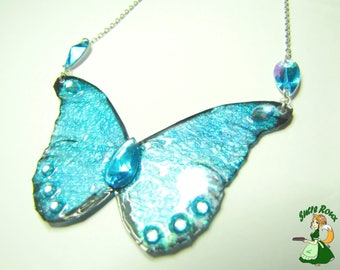 Blue Morpho butterfly wings necklace iridescent Fairy Wings fairy wings
