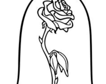 Disney Beauty and the Beast Rose vinyl window car vehicle decal