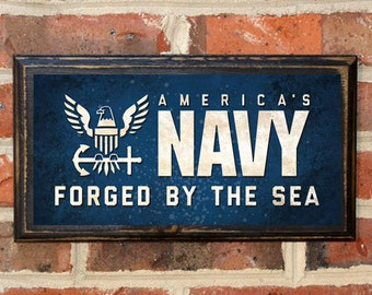 US Navy Midshipmen Forged by the Sea Wall Art Sign Plaque Gift Present Home Decor Vintage Style USNA Sailor Naval Academy Football Antique