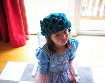 Crochet dragon hat for queens and princesses - MOTHER Dragon Hat - comes in forest green or petrol blue - birthday gift ideas for kids