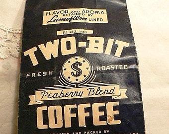 Vintage Two-Bit Coffee Paper Bag