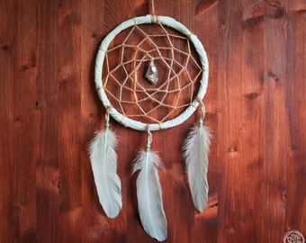 Dream Catcher - In the Grass - With Sparking Crystal and Pure Aqua Colored Feathers - Home Decor, Nursery Mobile