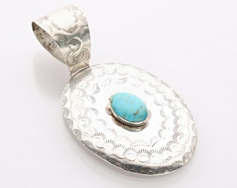 Original Design Hand-stamped Royston Turquoise Sterling Silver Pendant Necklace
