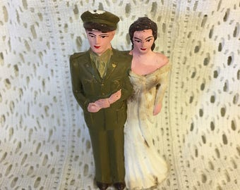 Sweet Vintage Military Wedding Cake Topper 1940's