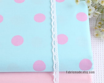 Large Dots Fabric, Pink Lake Blue Polka Dots Cotton Fabric, Baby Quilting Fabric - 1/2 yard