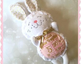 Stuffed animal bunny - personalized plush bunny - embroidered bunny - easter bunny stuffie - personalized stuffed animal