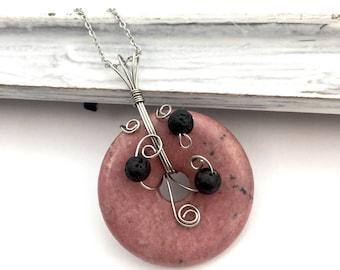 Rhodonite essential oil diffuser necklace