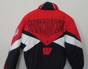 Vintage Pro Player Mens XL Full Zip UW Wisconsin Badgers Puffer Jacket Coat NCAA 90s