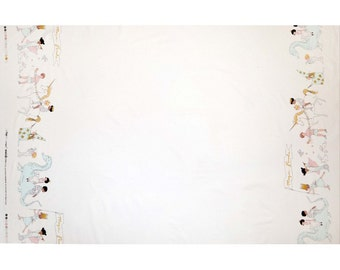 Magic Magical parade - Double Border with Cotton Metallic White Sarah Jane Michael Miller Fabric by the Half Yard