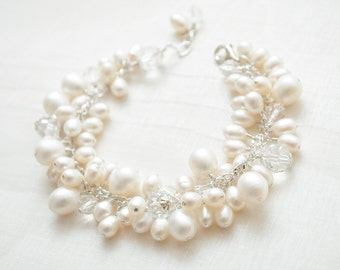 Freshwater Pearl Bridal Bracelet, Cluster Bracelet, Pearl Wedding Bracelet, Bridal Jewelry