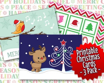 Christmas Card Printables - 3 Designs - Instant Download, Print Christmas Paper Gift Cards