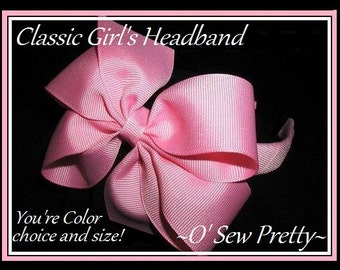 Set of 3 or 5 or 10 custom headbands, Headband with CLASSIC Style Bow, Preppy headbands for girls, PICK your colors of headbands, headbands,