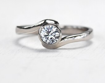 White Sapphire Engagement Ring in Swirl Design, Ethical 18k Gold or Platinum