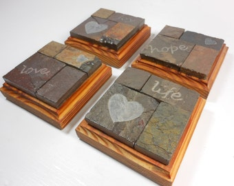 Love Hope Joy Life WALL ART COLLAGE - Carved Natural Slate Stone Mosaic - Reclaimed Heart Pine - Wall Hanging