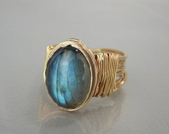 Promise Ring, Labradorite Ring, His and Hers Ring, Natural Labradorite, Gold Filled Ring, Oval Labradorite Ring, Anniversary Gift