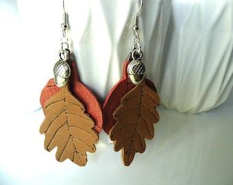 Leaves earrings autumn oak fruit pendant and leather