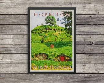Hobbiton Travel Poster | Lord of the Rings poster |  Vintage look print | Vintage travel |Fantasy travel poster |LOTR