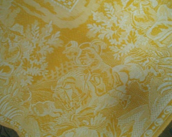 Antique French Cotton,Linen Tablecloth,c1910,Yellow white,Shabby cottage chic