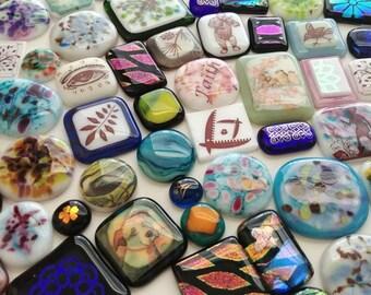 Destash 100 Piece Fused Glass Cabochons