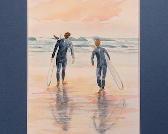 """Original watercolor painting, surf, sea, sunset,"" the evening with friends Session """""