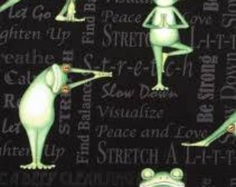 """Yoga Frogs """"back in 5 minutes"""", by the half yard, 43-44"""" wide, 100% cotton - novelty fabric - animal fabric - yoga fabric"""