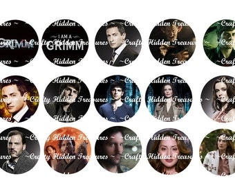 """Grimm Tv Show 1"""" Bottle Cap Digital Image 4 x 6 inch and 8.5 x 11 inch Digital Collage sheet"""