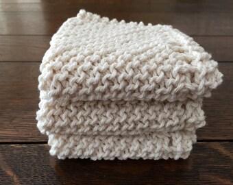 Knitted washcloth, wash cloth, baby washcloth, face cloth, face scrubbie, spa, dish cloth, dishcloth, gym bag rag, scrub cloth, gift for her