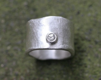 Wide Silver Band with .10ct Diamond