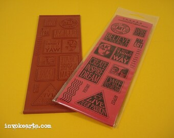 ArtPost 1 / Invoke Arts Collage Rubber Stamps / Unmounted Stamp Set