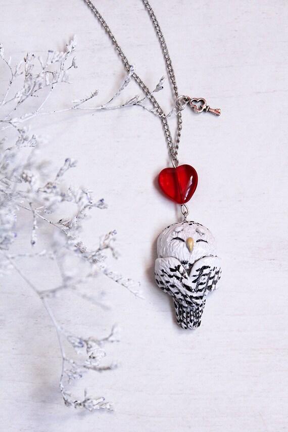 Arctic Owl Necklace, Polar Owl Charm, White Owl Pendant, Cute Tiny Owl Jewelry, Lovely White Owl Charm, White Owl Totem Necklace