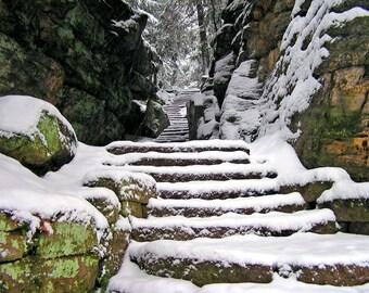 Treppe zum Winter 8 x 10 Ohio Natur Fotografie Print Schnee Szene Wall Art Home Decor